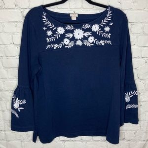 J Crew navy blue blouse with embroidered flowers